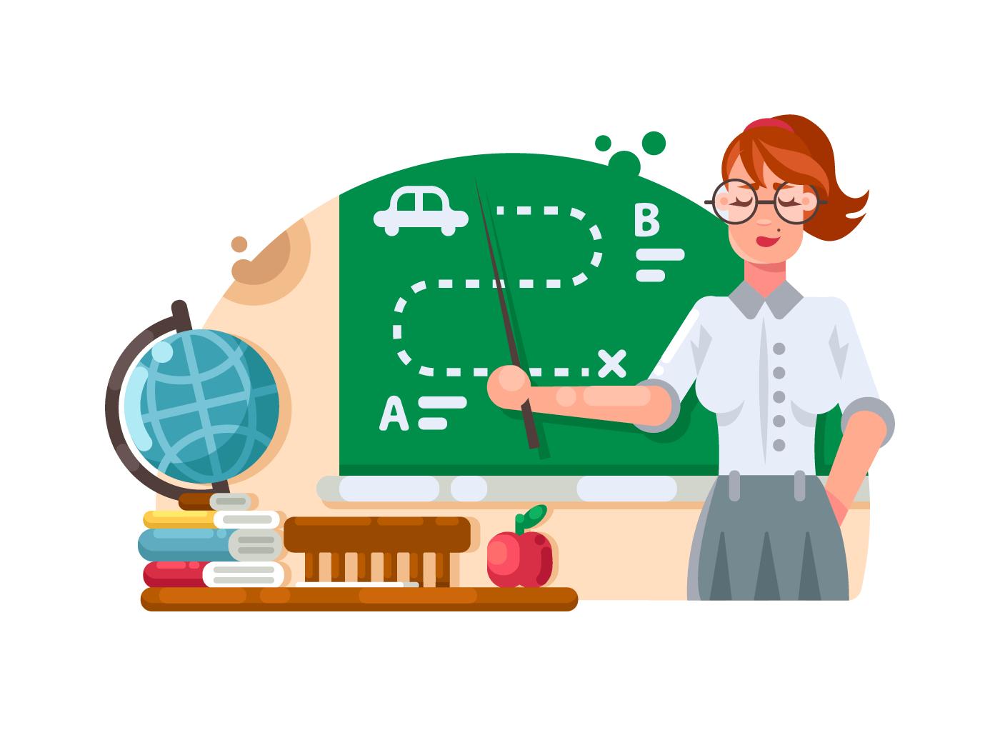 School teacher stands near blackboard illustration