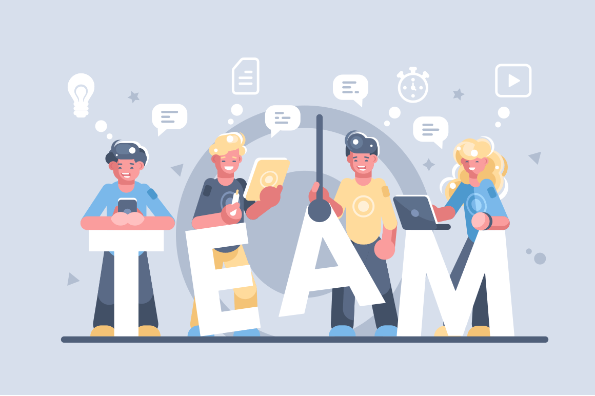 Business people working together vector illustration. Men and woman standing with gadgets at big letter Team flat style concept. Business teamwork cooperation and partnership