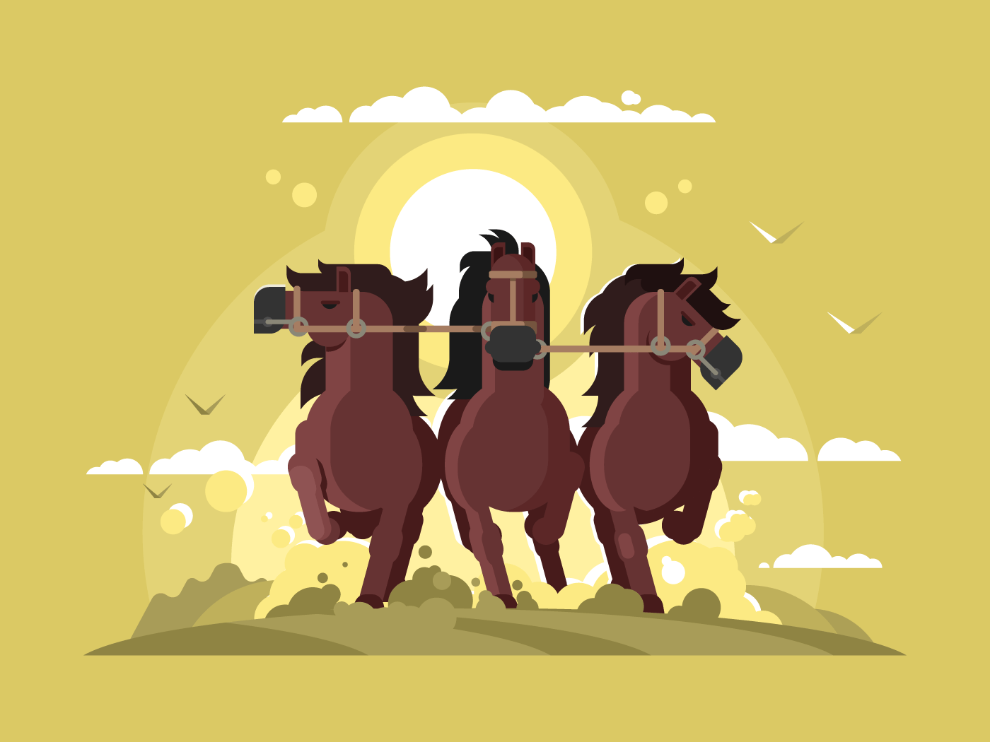 Three horses running flat vector illustration