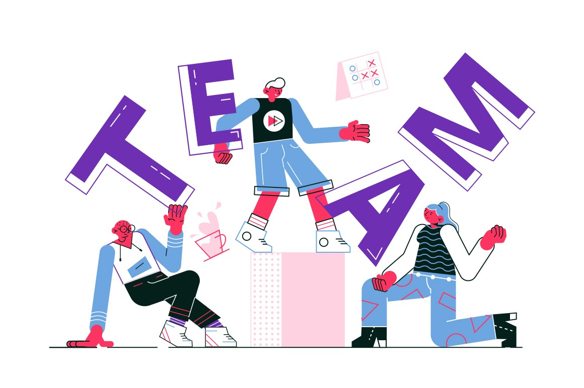 Friendly team of workers vector illustration. Positive funny man and woman in casual clothes dancing together flat style design. Teamwork and teambuilding concept