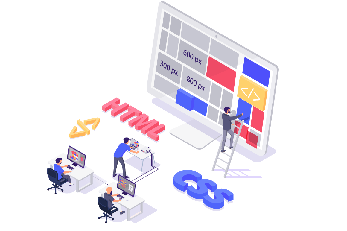 Isometric 3d teamwork building and do layout new modern site.