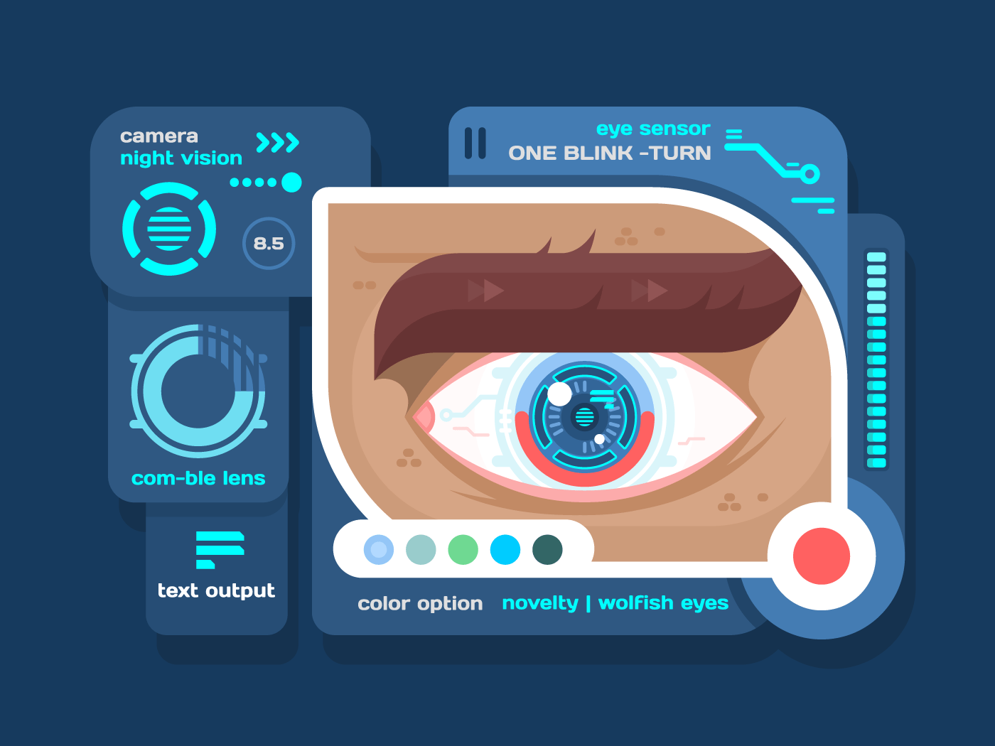 Technology in eye flat vector illustration