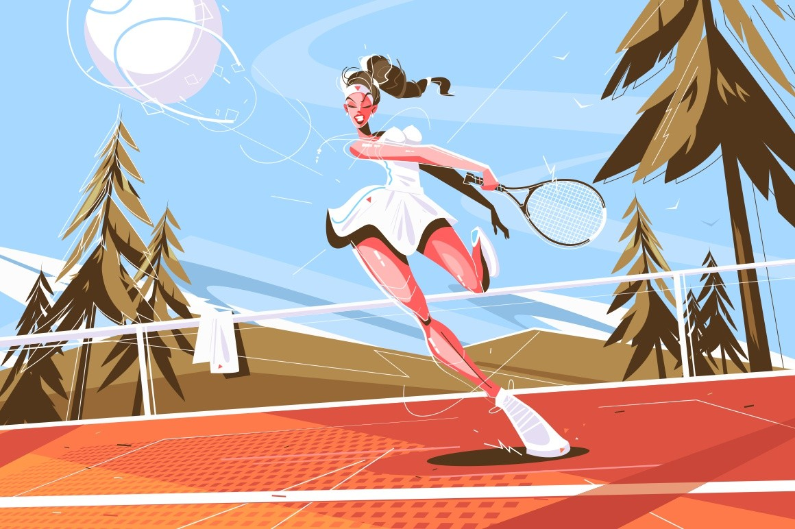 Cute girl with racquet vector illustration. Pretty professional tennis player in stylish sportswear. Young woman playing on court flat style design. Healthy lifestyle concept