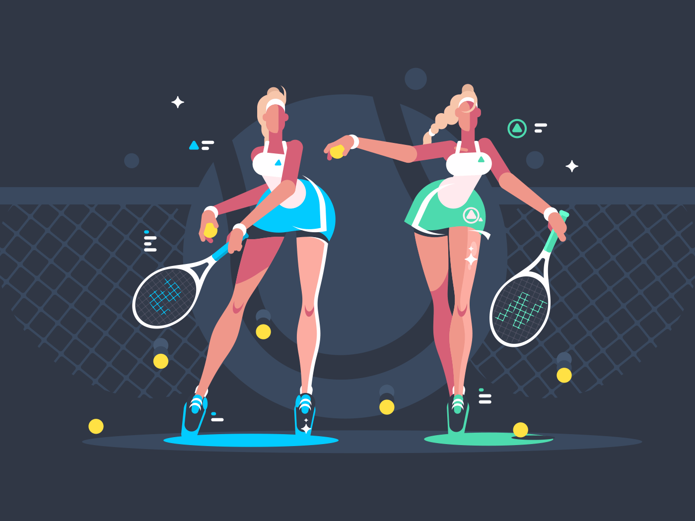 Girls play tennis on court. Sport woman with rackets. Vector illustration