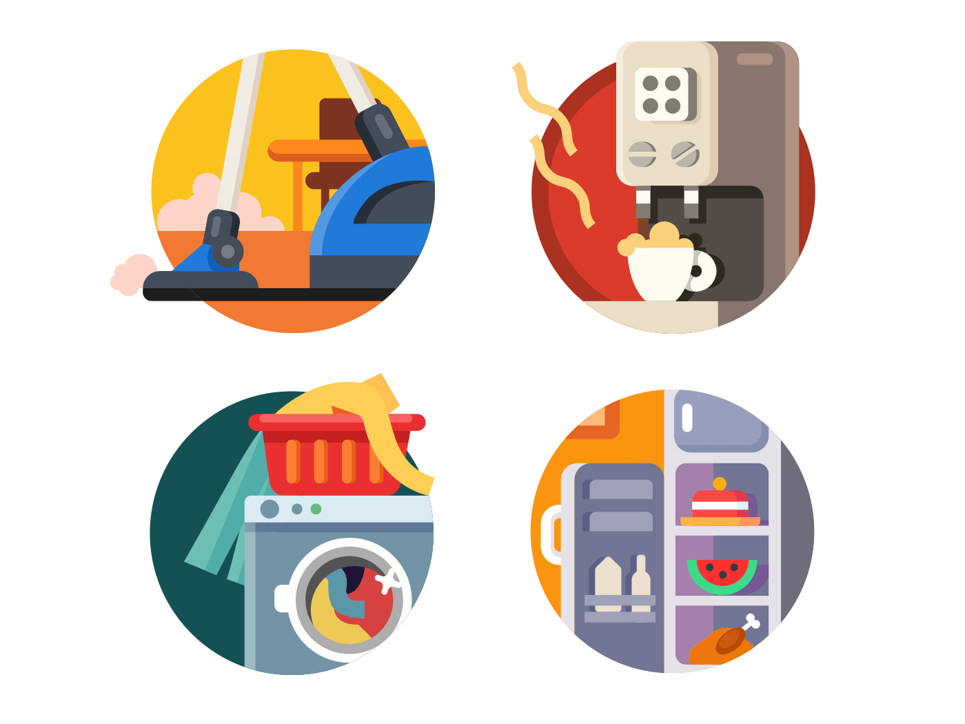 Set of household appliances flat vector icons