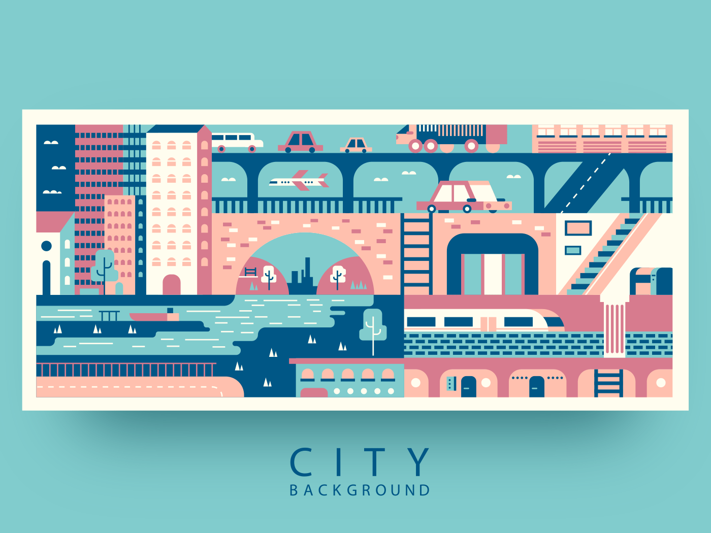City abstract background flat vector illustration