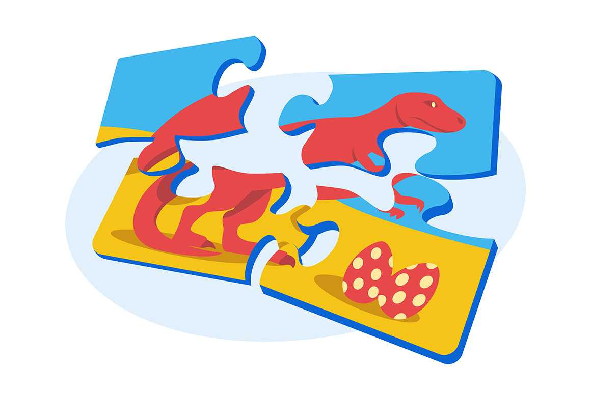 Bright colourful puzzle vector illustration. Pieces of fun entertaining game with dinosaur and egg flat style. Blue yellow and red colours. Spare time concept. Isolated on white background
