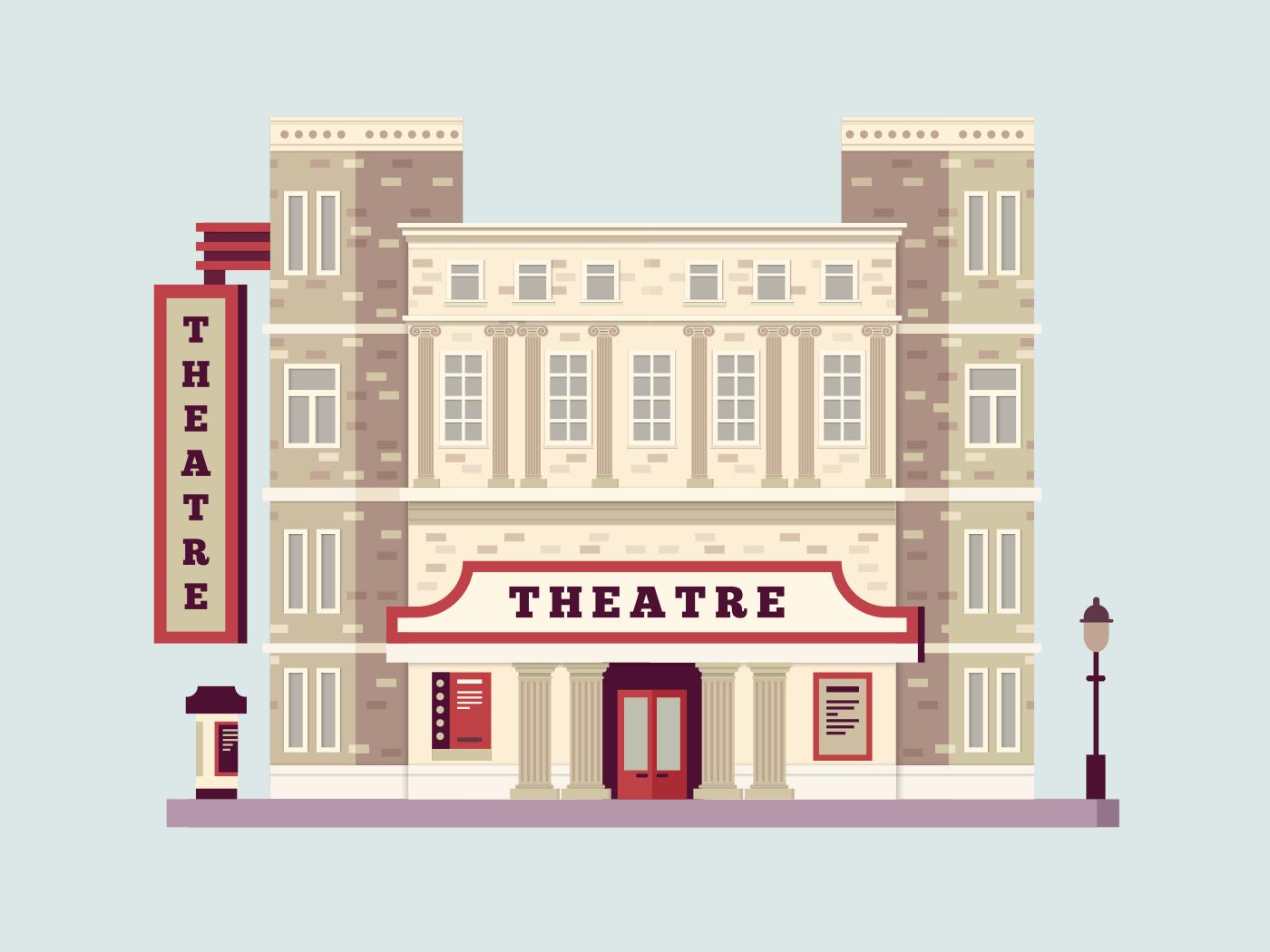 Theater building illustration
