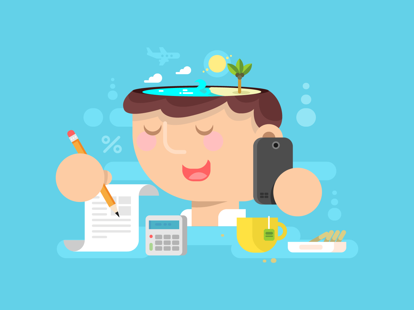 Thoughts in head Vacation planning flat vector illustration