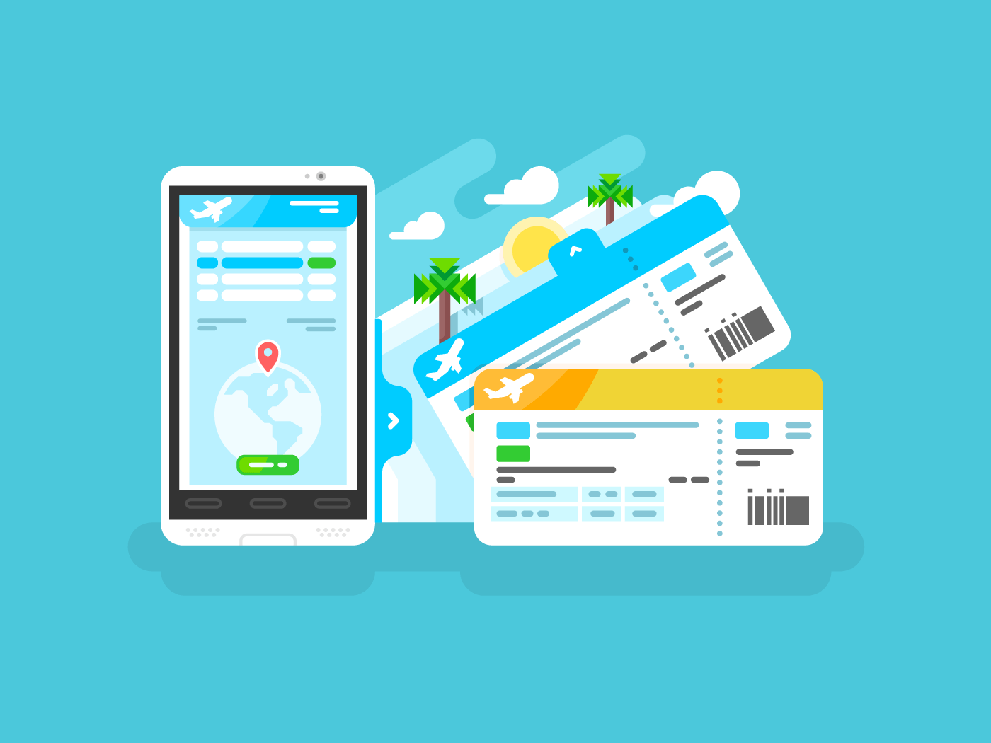 Tickets for the plane on a smartphone flat vector illustration