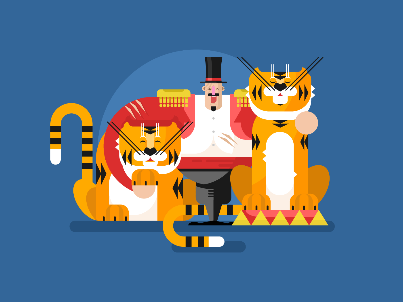 Animal trainer with tiger flat vector illustration