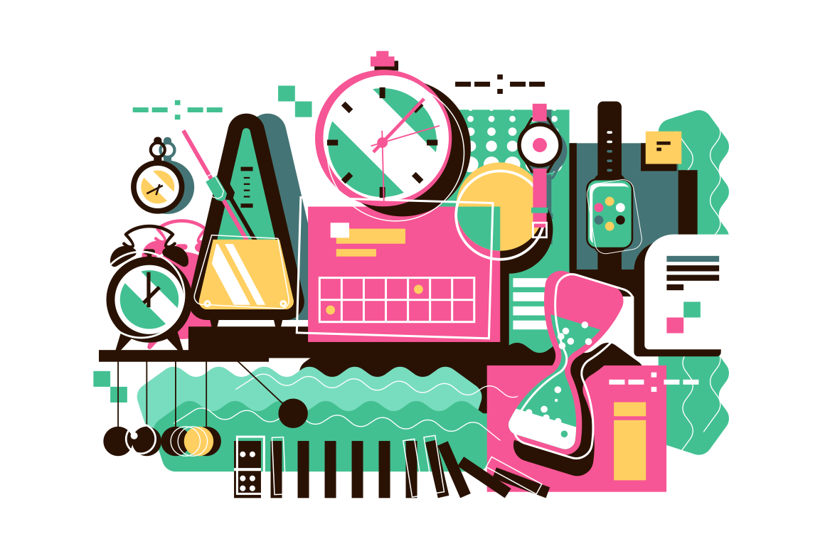 Collection of different time devices vector illustration. Types of clocks such as sandglass alarm-clock digital wristwatch stopwatch. Different ways of measuring time flat concept