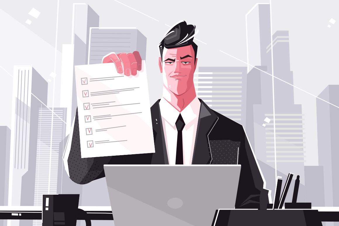 Confident business man with checklist. Vector illustration. Male in suit sitting behind personal table flat style design. Corporate accomplishment concept