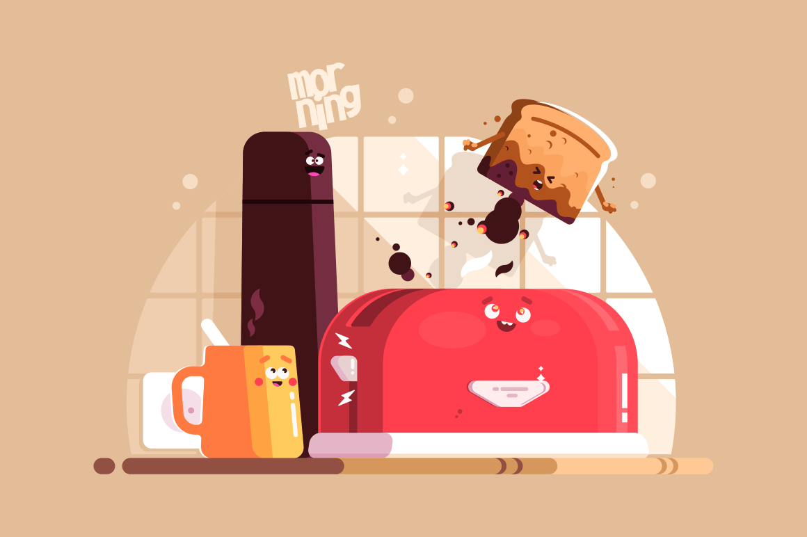 Electric toaster with slice of toasted bread and cup of coffee vector illustration. Tasty meals for breakfast flat style design. Kitchen equipment. Sweet morning concept