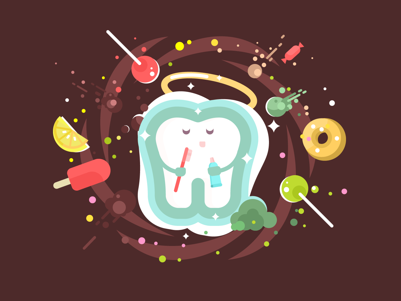 Tooth abstract flat vector illustration