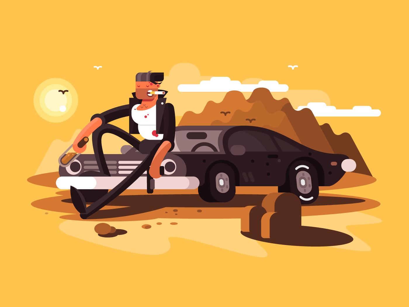 Tough man near car flat vector illustration