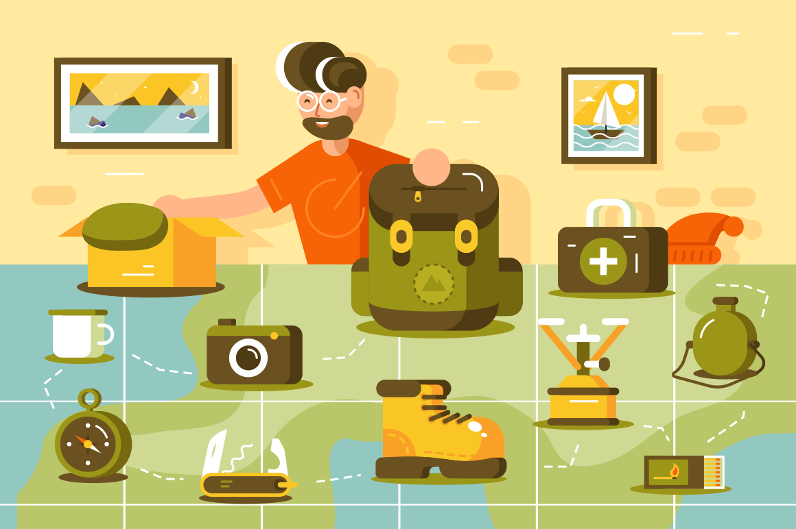 Tourist going hiking vector illustration. Young bearded man standing near country map. Boy putting various important trip equipment in camping backpack flat style design. Travelling concept