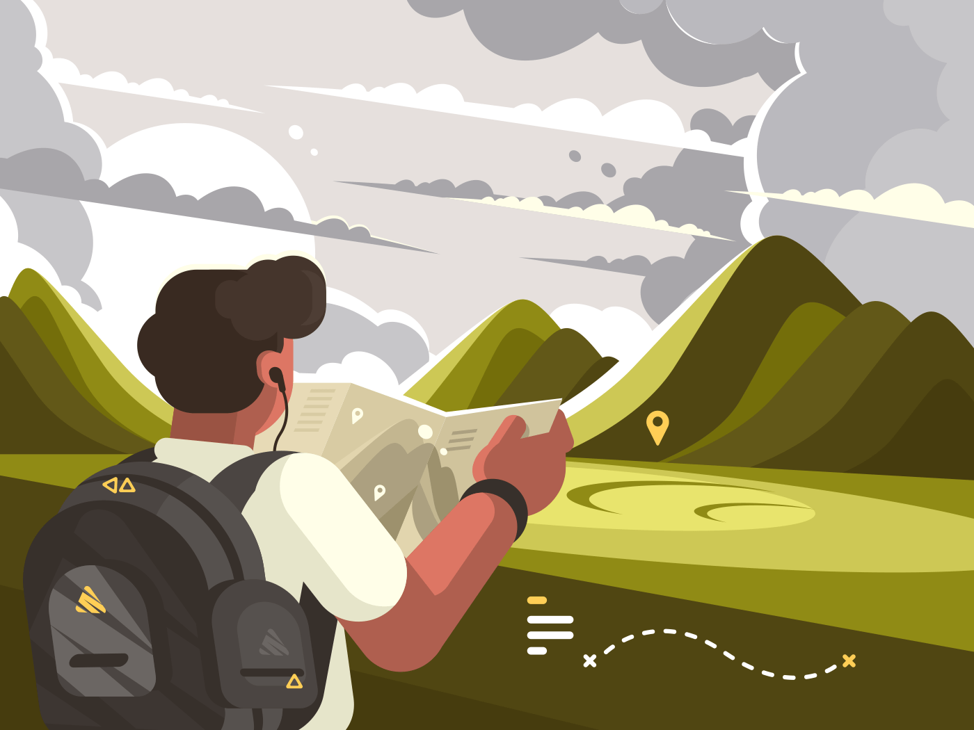 Traveler man with map planning walking route to mountains. Vector illustration