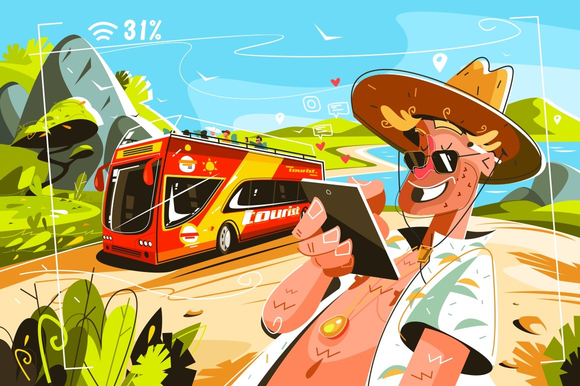 Cheerful tourists on bus vector illustration. Cartoon smiling man in shirt and cap surfing internet wia tablet flat style design. Travellig and adventure concept