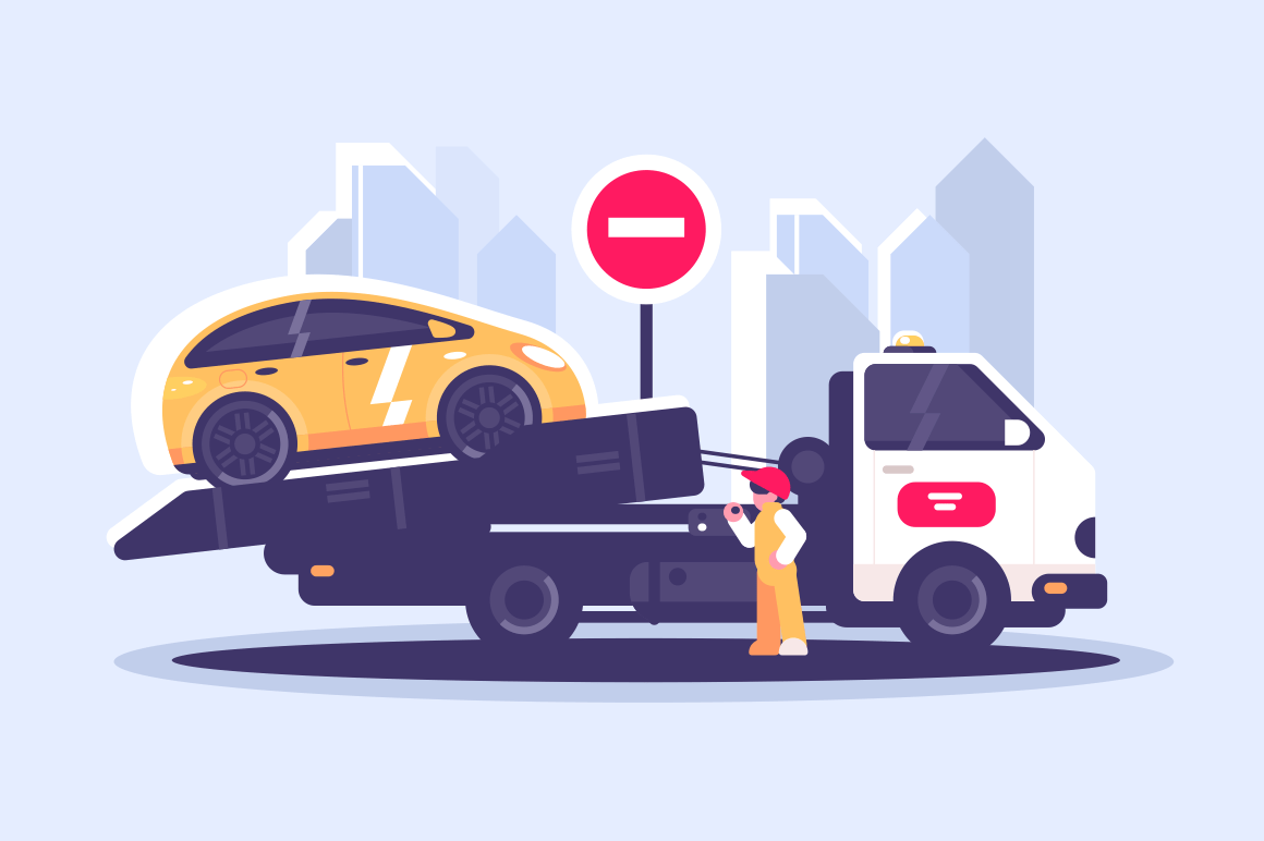Tow truck city road assistance service evacuator. Worker evacuating yellow car near sign no entry flat style concept vector illustration. Cityscape background