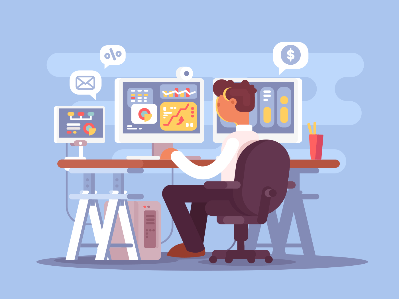 Stock trader sits in armchair illustration
