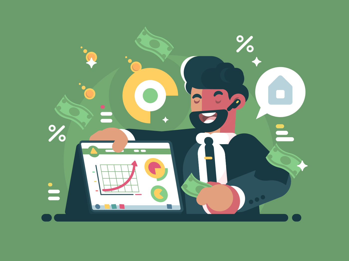 Successful and rich trader. Happy broker and upward financial schedule. Vector illustration
