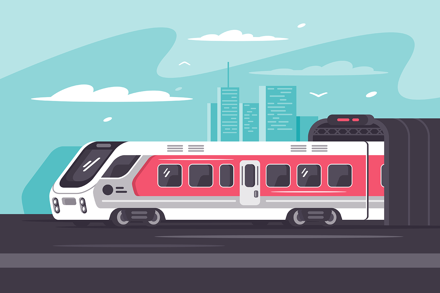 Train rushing out of city in long way.