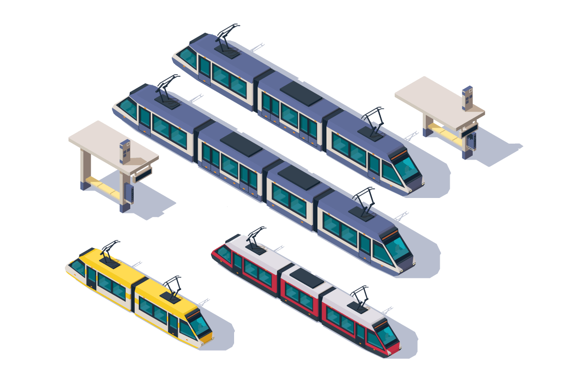 Isometric 3d set passenger tram with station elements.