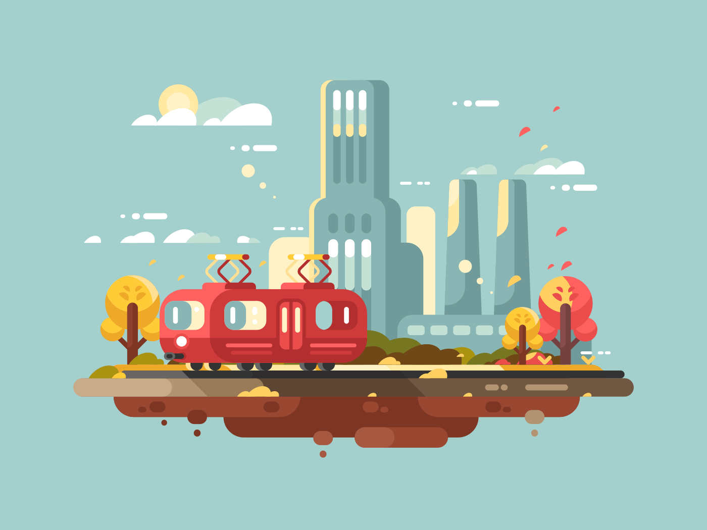 Retro tram flat vector illustration