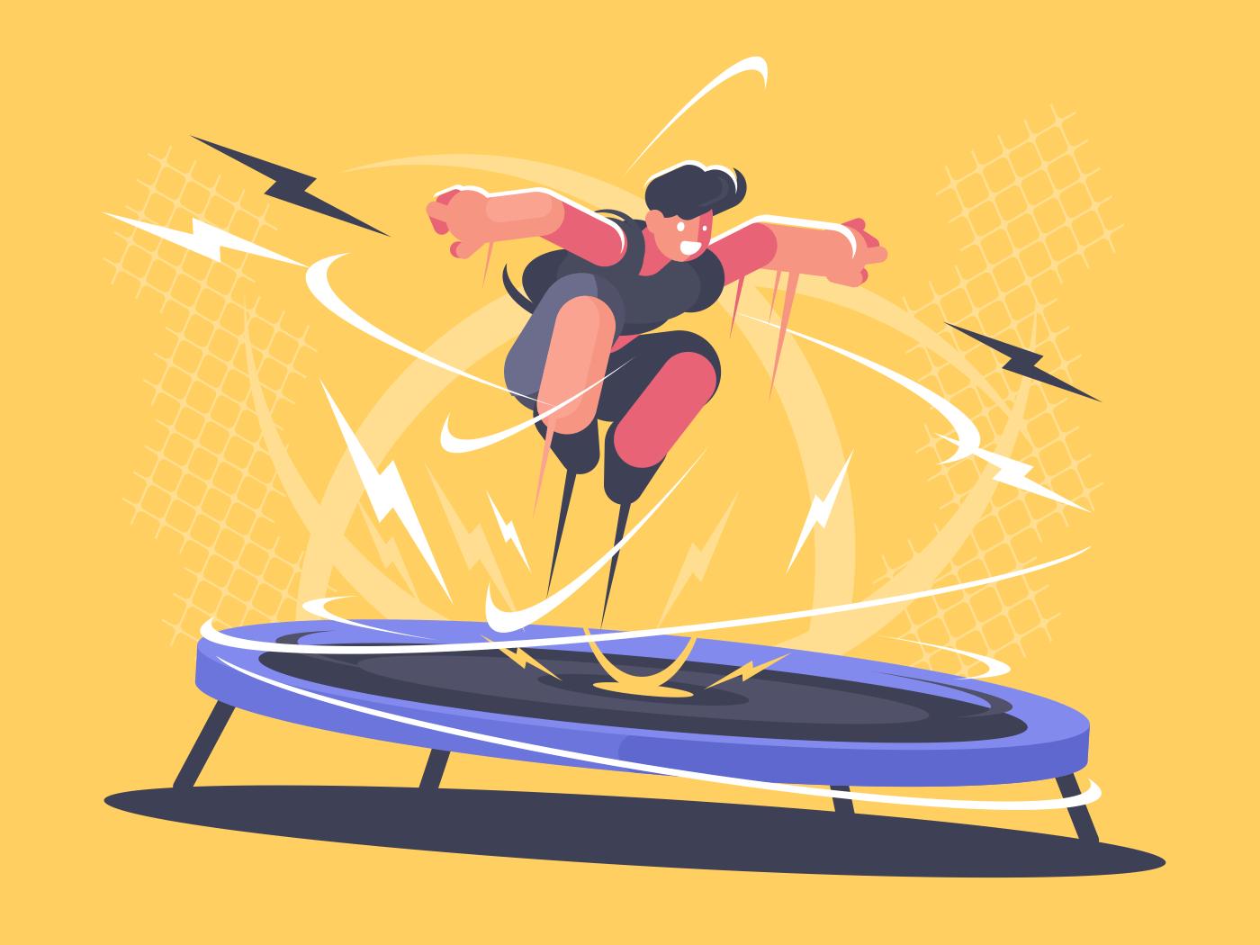 Athlete jumping on trampoline. Sports acrobatics training. Vector flat illustration