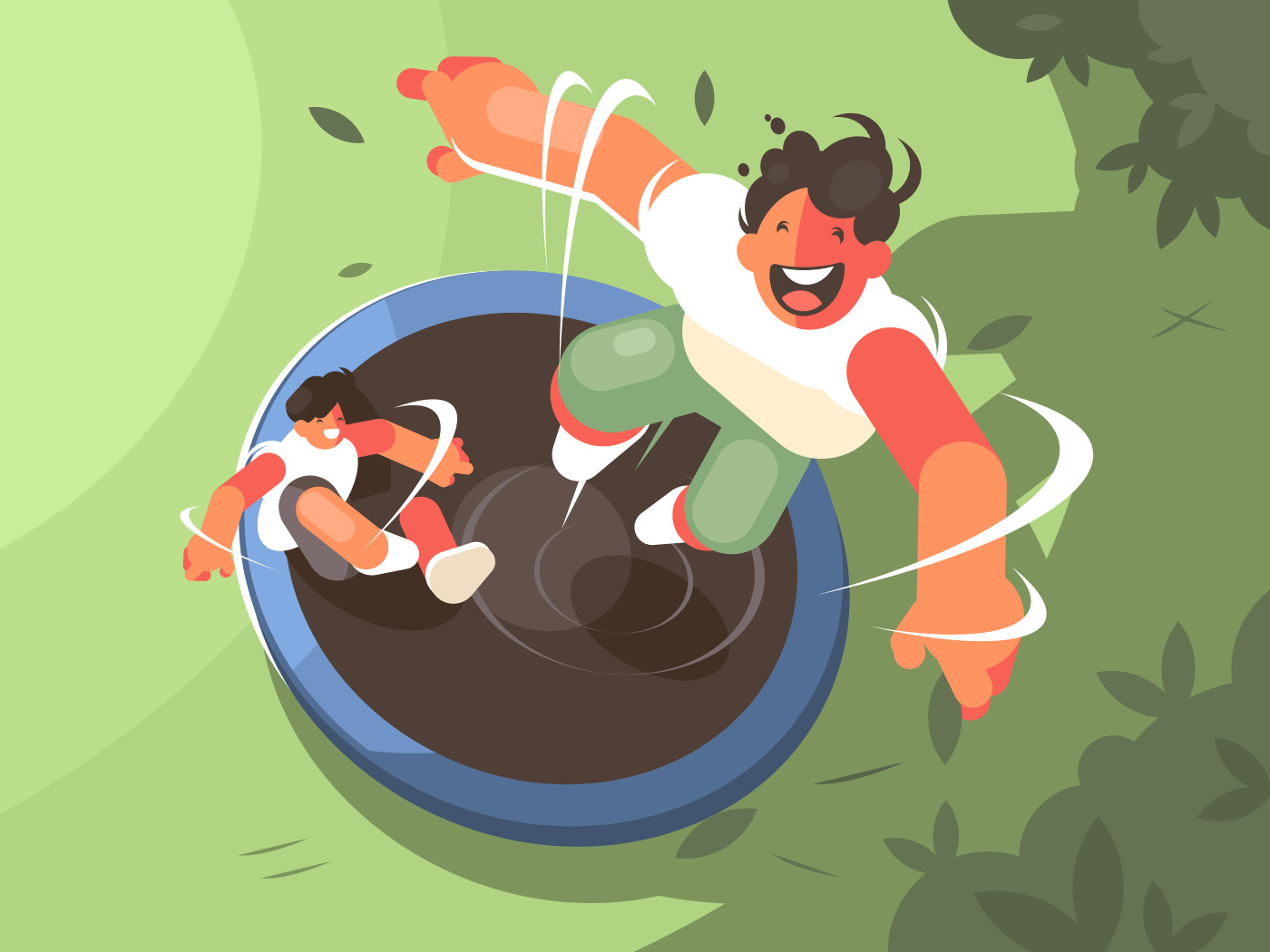 Two guys jumping on trampoline. Fun entertainment and recreation. Vector illustration
