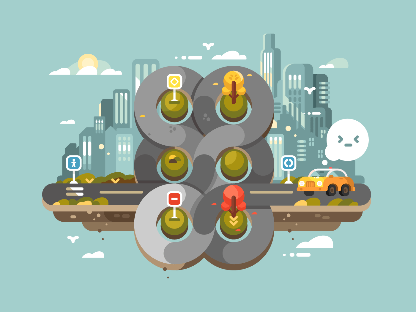 Transport cross road hub flat vector illustration