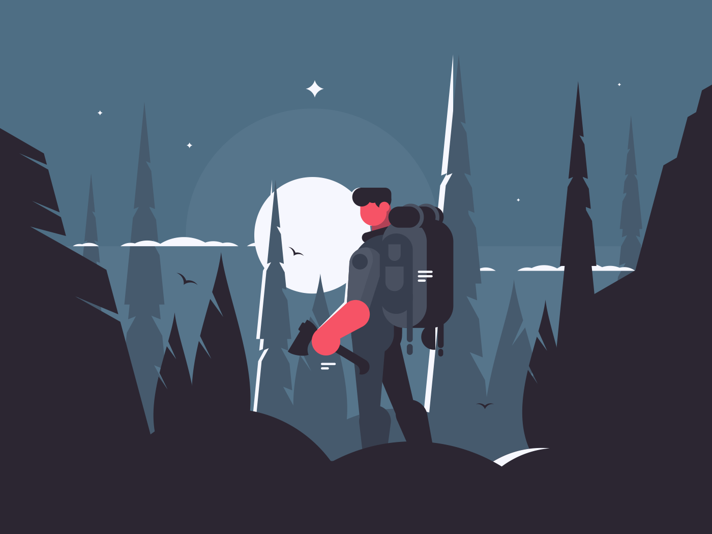 Man traveler in night hike with backpack and ax. Vector illustration