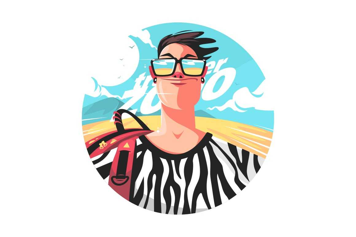 Man traveler in glasses vector illustration. Person wearing shirt with animal print flat style. Adult with backpack. Holiday and weekend concept. Isolated on white background