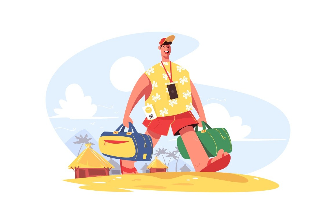 Traveller with luggage vector illustration. Happy smiling man going on beach. Golden sand, palm trees, huts and blue sky on background. Travelling concept