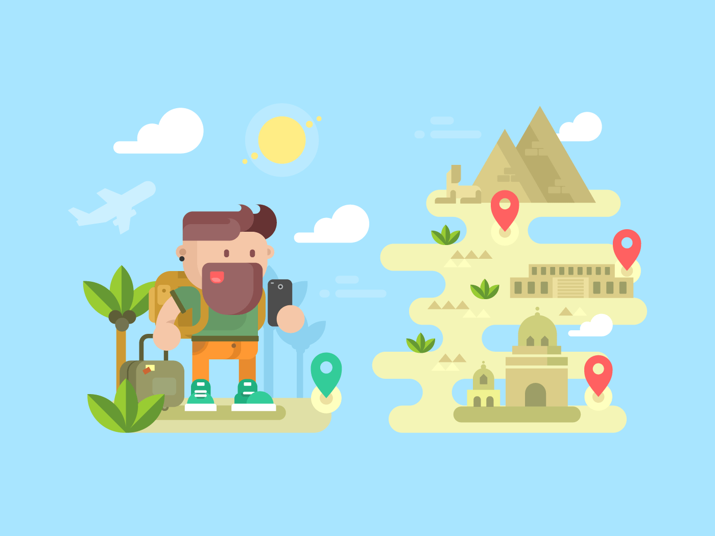 Travel traveler concept flat vector illustration