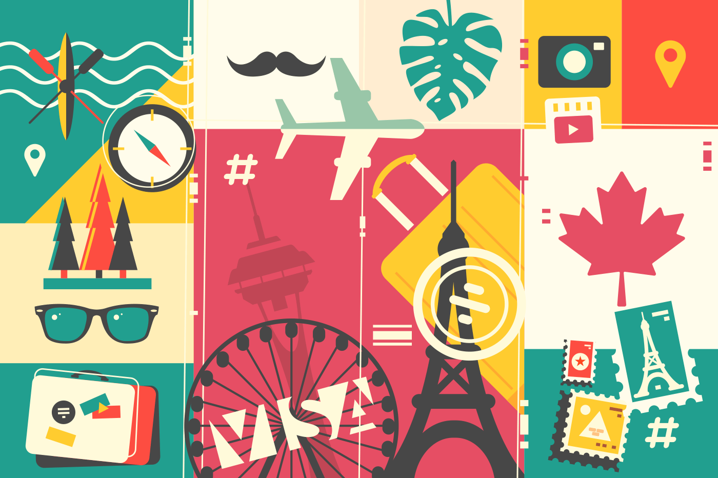 Travel and vacation. Abstract background, passport stamp and sights. Vector illustration