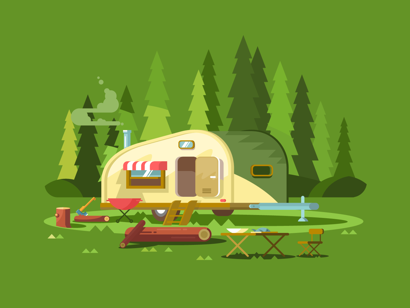 Trailer for travel in forest flat vector illustration
