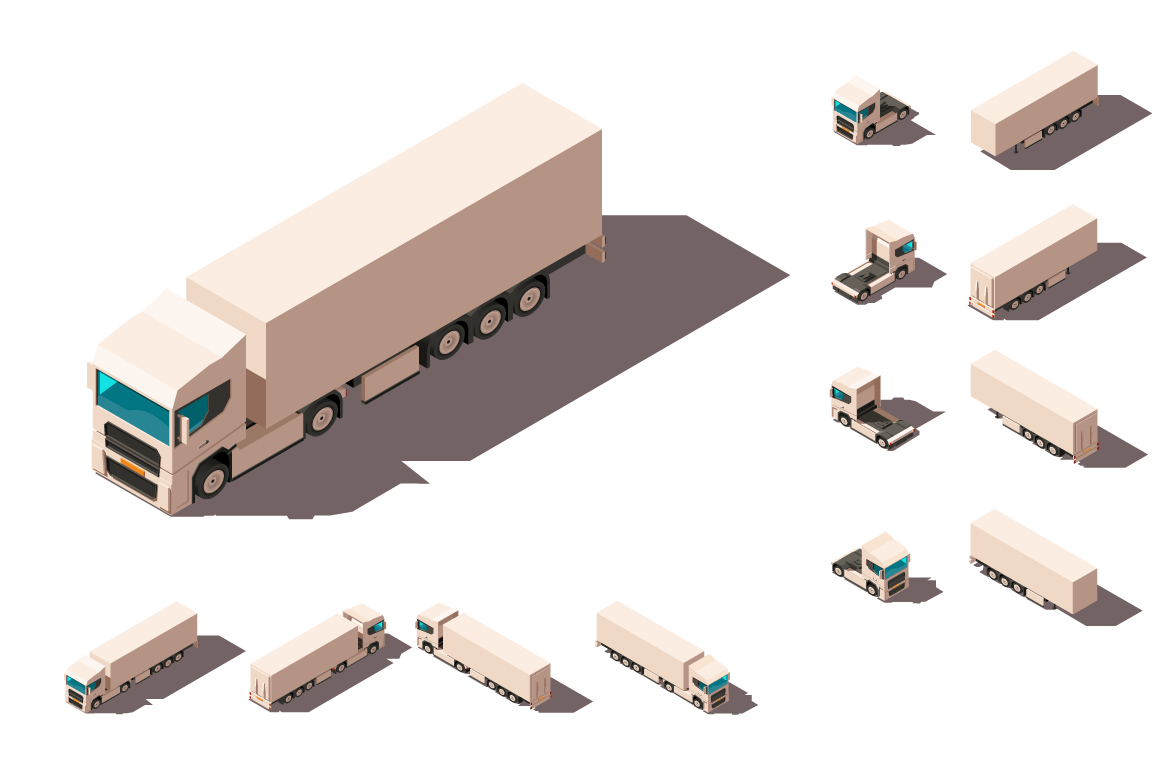 Isometric 3d set big truck with box for delivery moving and long distance transportation.