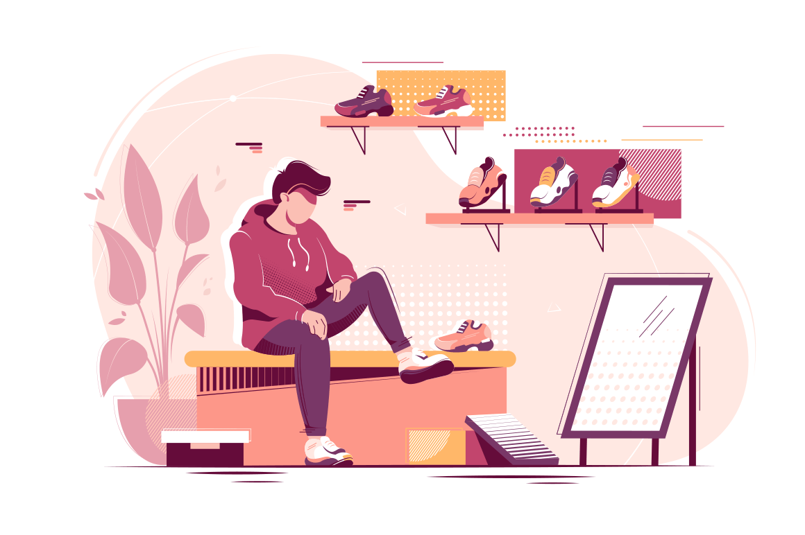 Flat young man trying measure sneakers in store.