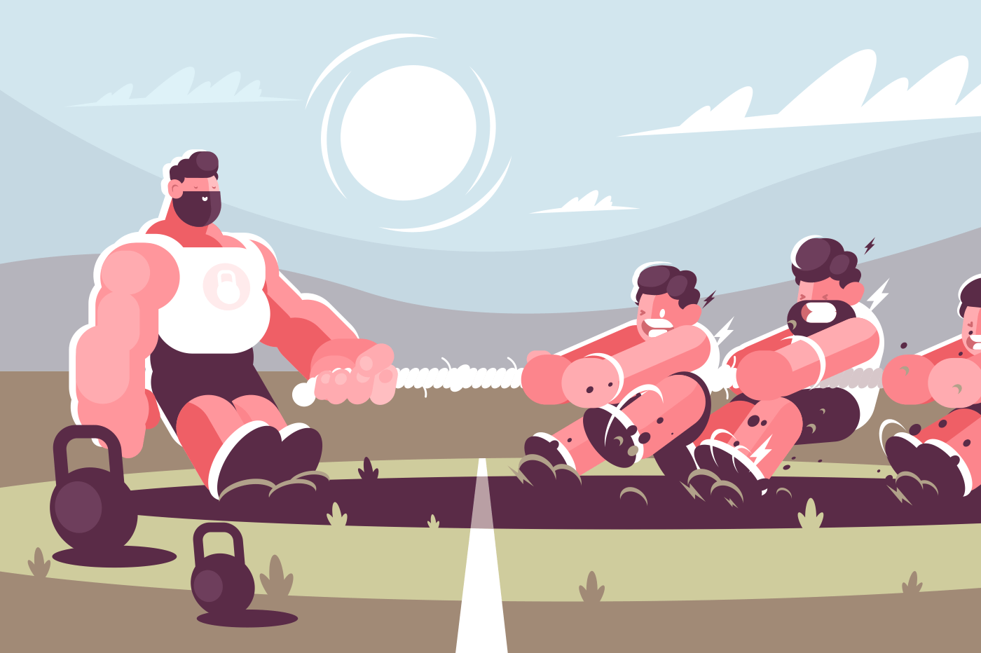 Powerful man competing with men in tug of war battle concept. Strong muscular leadership athlete . Flat. Vector illustration.