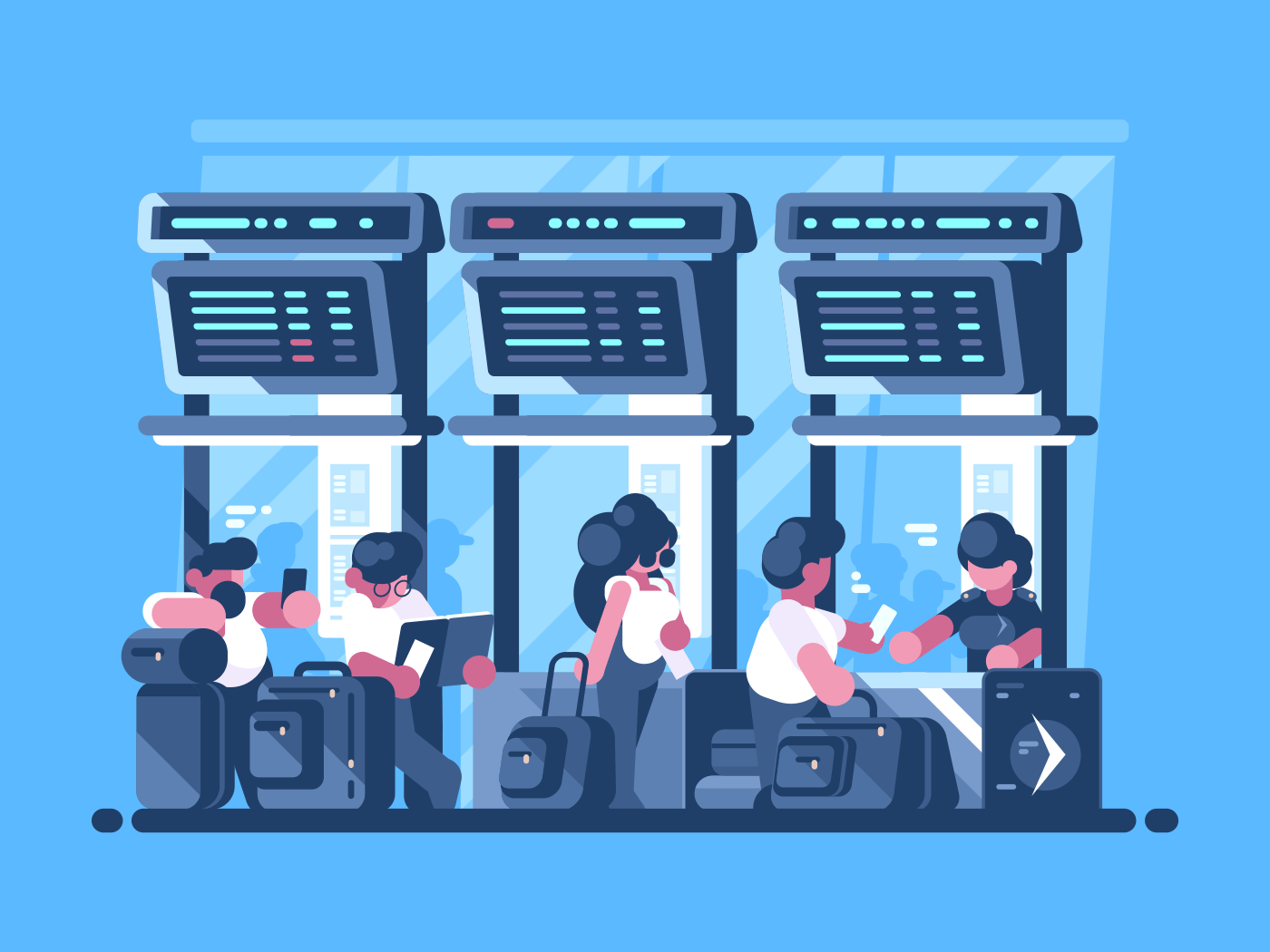 Checking and check-in of baggage for flight. Queue for registration. Vector illustration