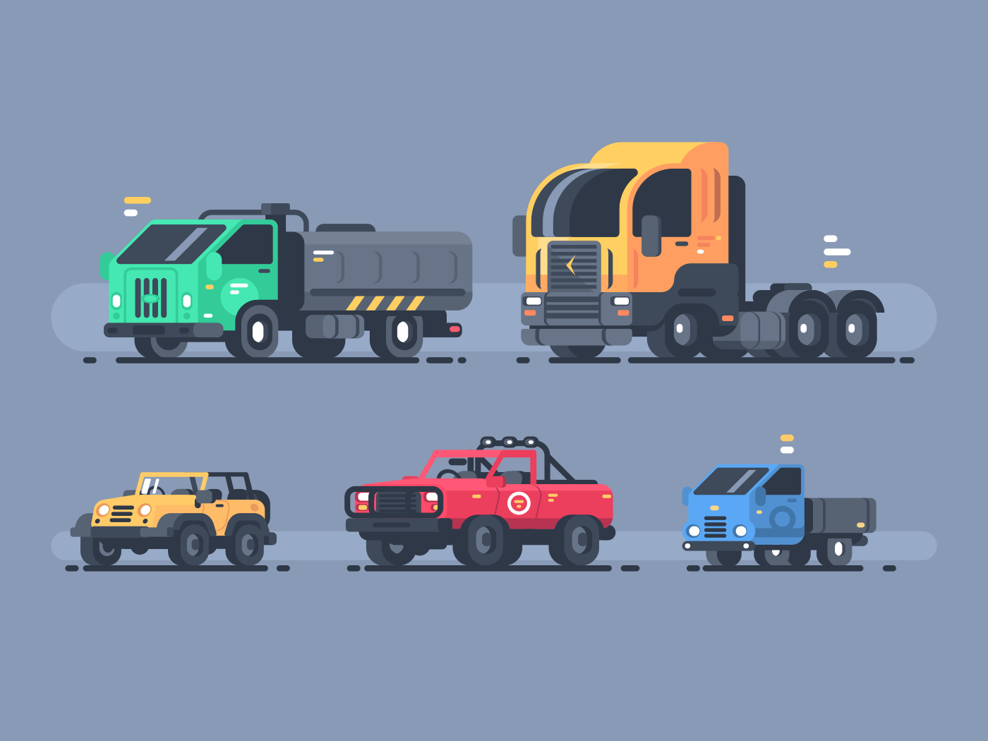 Set of types cars. SUV and cargo trailer, tanker and lorry. Vector illustration