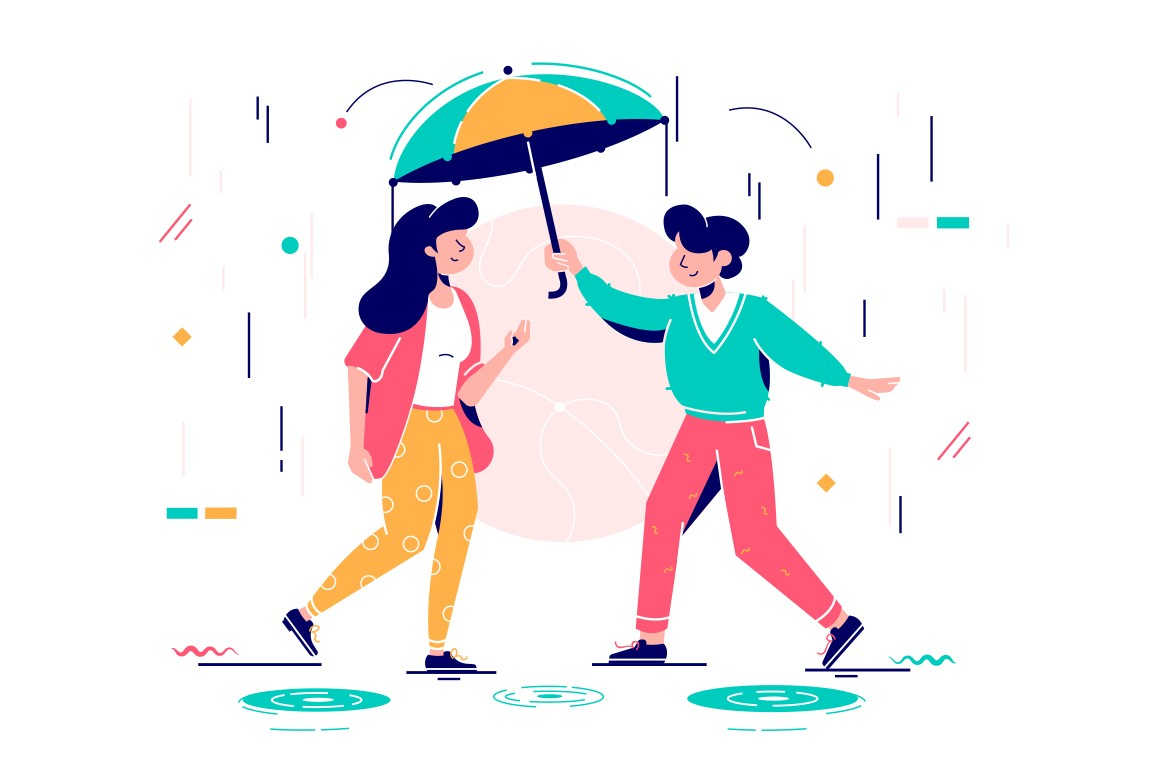 Young handsome man protects attractive woman from rain