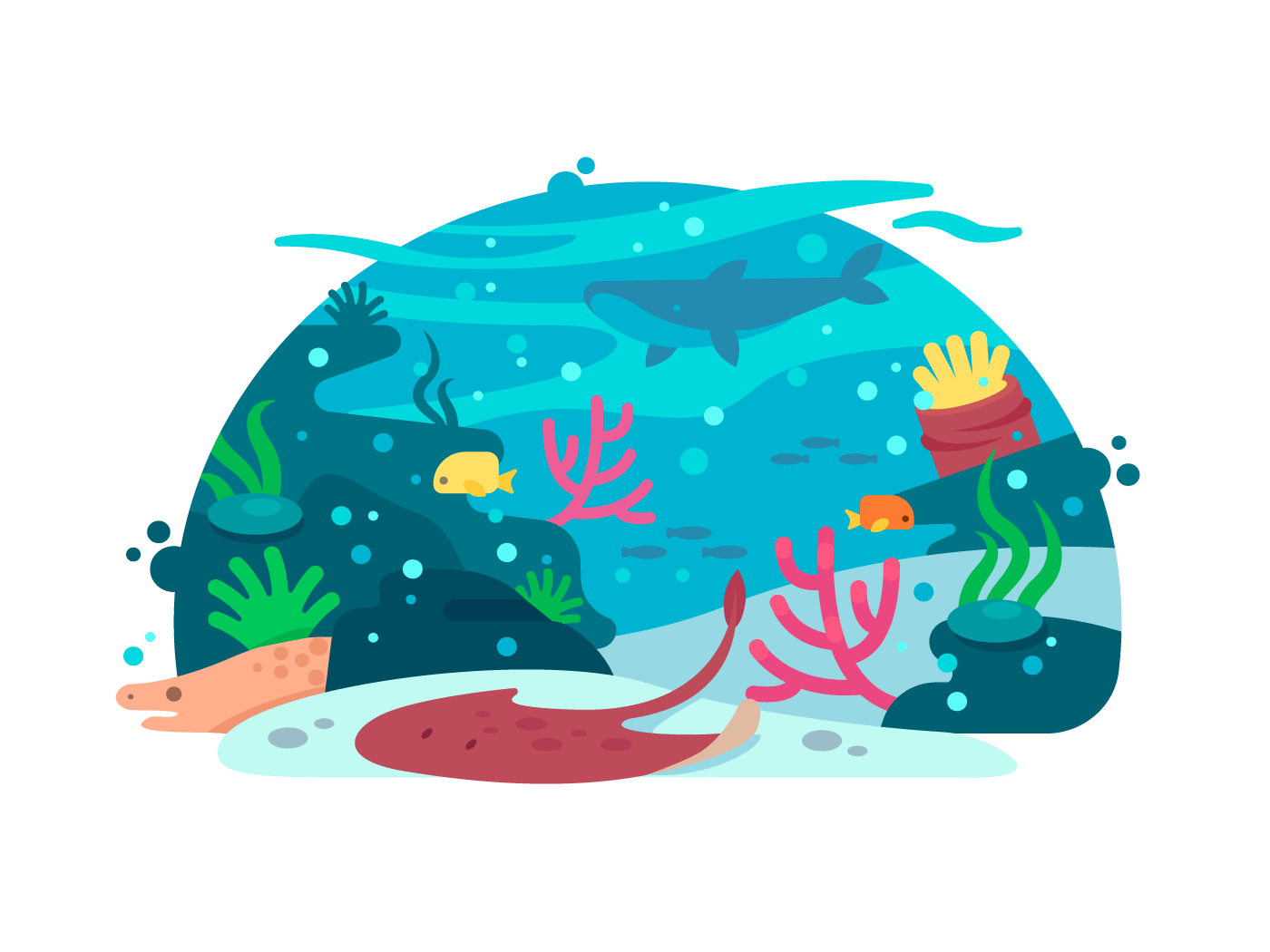Marine underwater world illustration