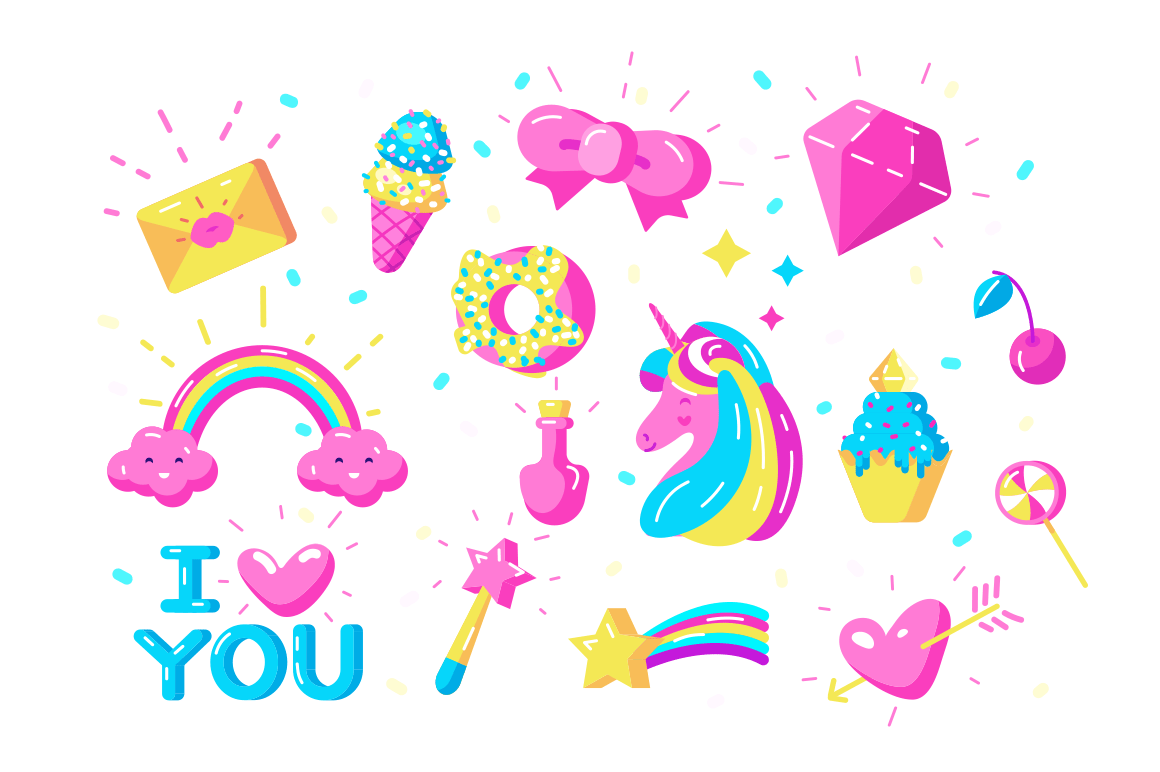 Unicorns symbols set vector illustration. Collection consist of rainbow magic wand ice-cream sweets candies and inscription I love you flat style concept. Isolated on white