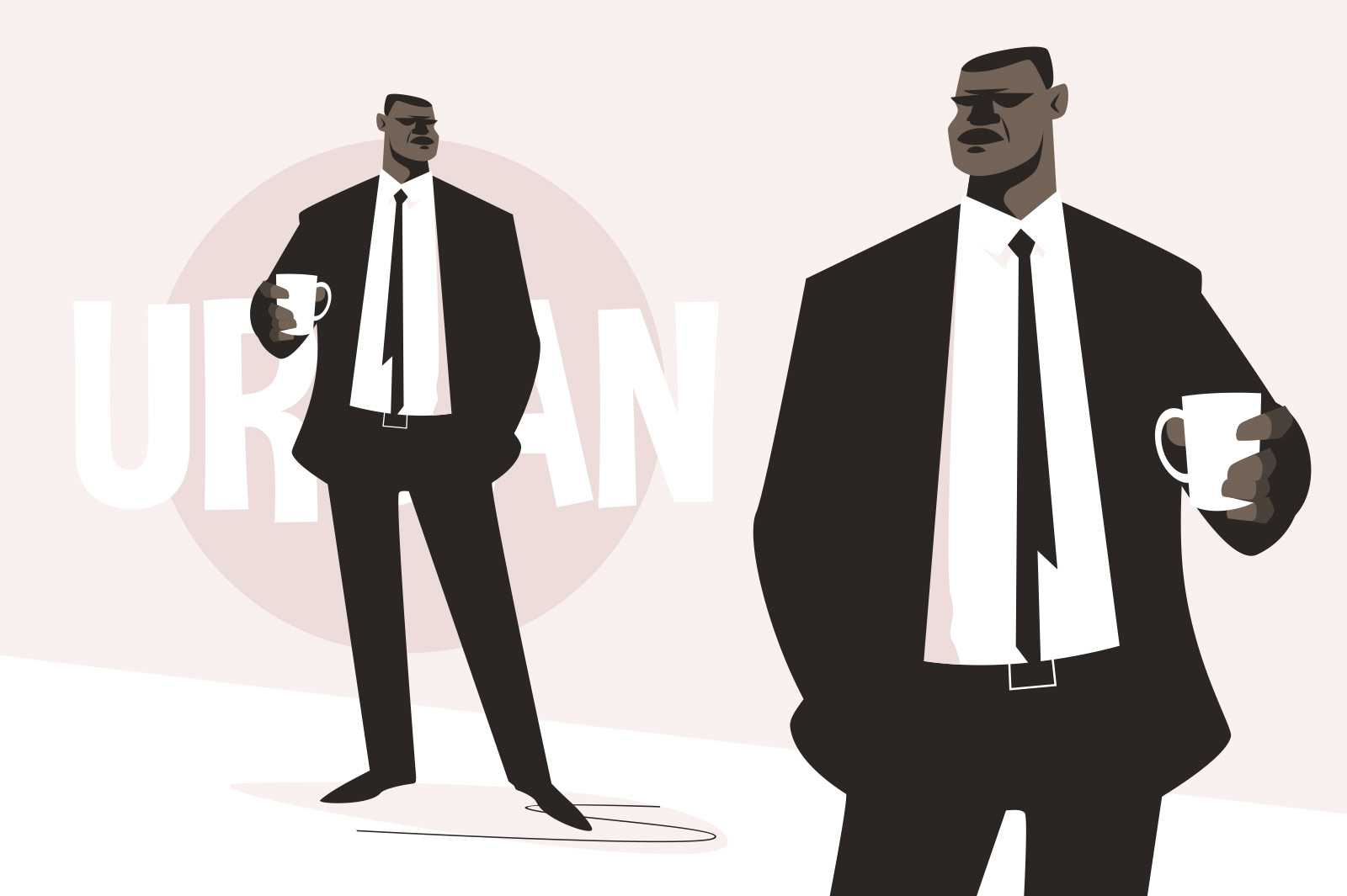 Urban afroman in suit vector illustration. Man in stylish luxury costume holding cup of drink flat style. Urban inscription. Fashion concept. Isolated on pink background
