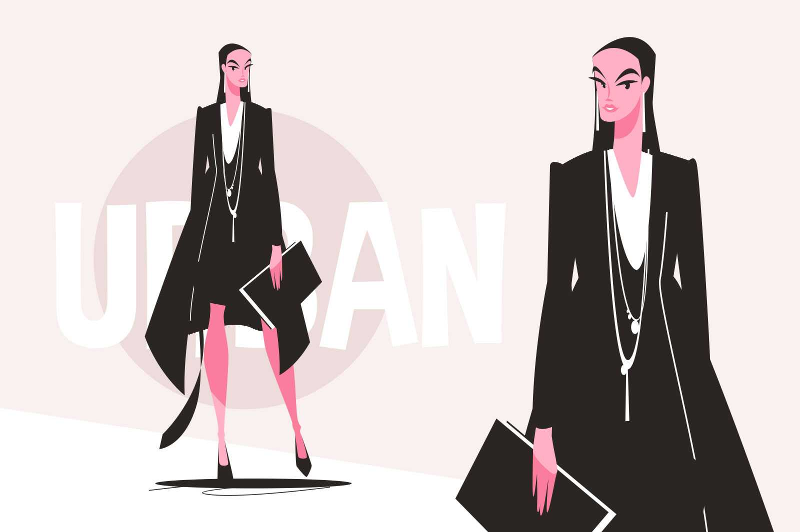 Stylish urban business lady vector illustration. Fashionably dressed woman in black suit flat style. Fashion week and beauty concept. Isolated on pink background