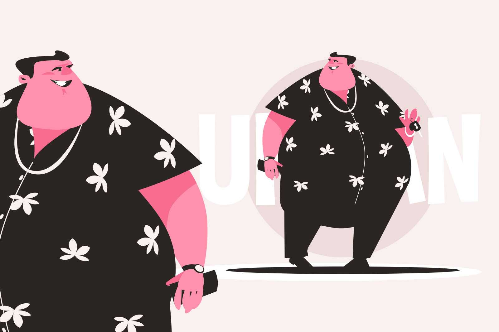 Smiling urban fat boy vector illustration. Thick man wearing shirt with flowers flat style. Person with car keys. Coolness and fashion concept. Isolated on pink background