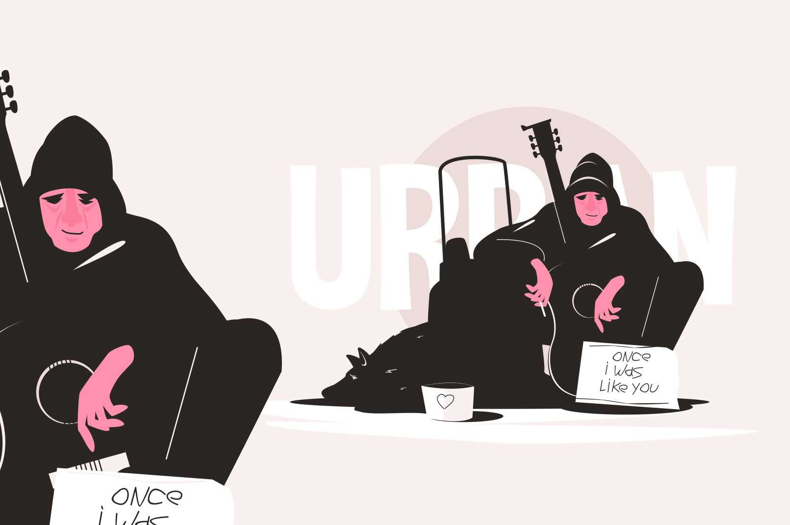 Poor urban homeless man vector illustration. Guy sitting on street with one i was like you sign flat style. Male play on guitar for money. Poverty and street life concept. Isolated on pink background
